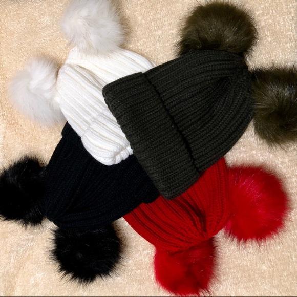 15cde6b9357 Double Pom Pom Hat - Red